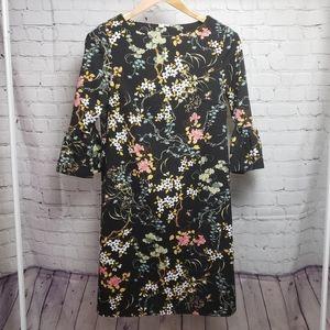 Jules & Leopold Black Floral Bird Print Dress Midi Boho Bohemian Stretch